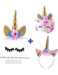 Prime Arts USA 3D Unicorn Cake Topper Set with Eyelashes, Ears, Gold Horn, BONUS HEADBAND