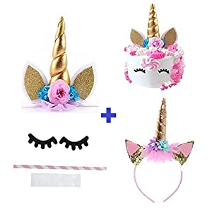 Prime Arts USA | 3D Unicorn Cake Topper with Eyelashes and Headband | DIY Unicorn Party Supplies Cake Decoration Kit for Birthday, Baby Shower, Wedding, Etc.