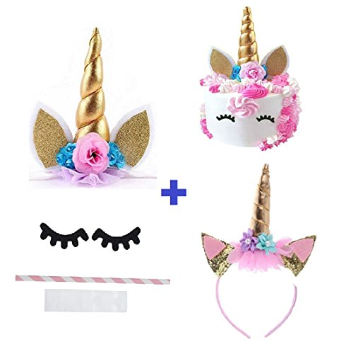 Prime Arts USA | 3D Unicorn Cake Topper with Eyelashes and Headband | DIY Unicorn Party Supplies Cake Decoration Kit for Birthday, Baby Shower, Wedding, Etc. ()