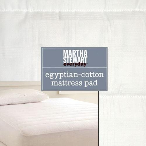 Martha Stewart 250 Thread Count Egyptian Cotton Window Pane Mattress Pad WhiteTwin