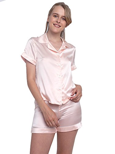 (MYK 100% Mulberry Silk Two Piece Pajama Set Button Down Night Shirt and Shorts for Women, Medium, Pink )