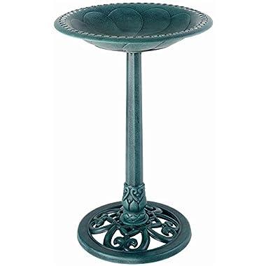 Gardman BA01136 Pedestal Bird Bath, Antique Verdigris Effect, 20  Wide x 28  High
