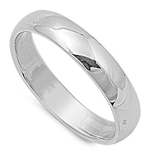(Sterling Silver Wedding 4mm Band Plain Comfort Fit Ring Solid 925 Size 6)