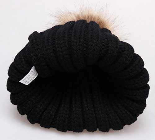 a31ac9728f554 MSG Women Warm Knit Hat Detachable Faux Fur Pom Winter Beanie M30 (Black).  Black. Dark Grey. Navy Blue. Wine Red