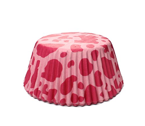 Hot Pink Cow Print Standard Size Cupcake Liners   25 pieces - Cow Print Baking Cups