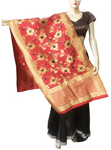 Indian Bridal Wedding Pakistani Banarasi Women Woven Cotton Silk Veil Dupatta Stole Chunni Shawl Scarf (DD Red)