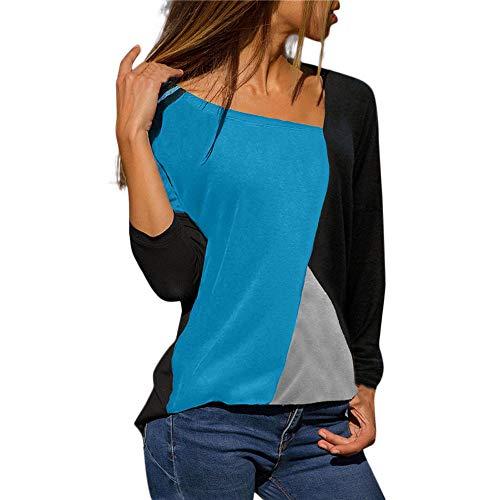 Women Casual Patchwork Color Block Crewneck Long Sleeve T-Shirt Blouse Top