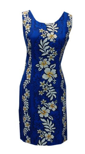 Jade Fashions Inc. Women Short Cotton Hawaiian Hibiscus Blue Tank Dress-Blue-XL