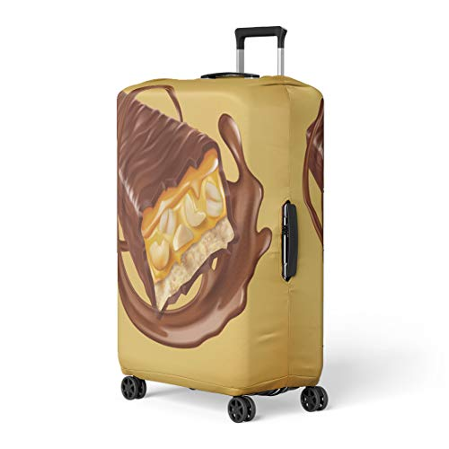 Nougat Swirls - Pinbeam Luggage Cover Chocolate Bar Sweet Nuts and Caramel Fillings Sauce Travel Suitcase Cover Protector Baggage Case Fits 18-22 inches