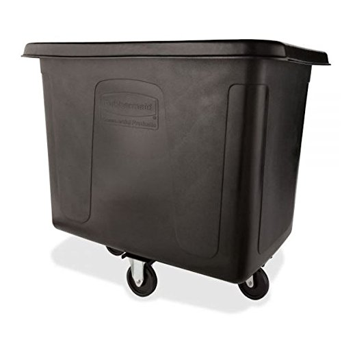 Rubbermaid Commercial MDPE 102.9-Gallon Laundry and Waste Collection Cube Truck, Rectangular, 31-Inch Width x 43-3/4-Inch Depth x 37-Inch Height, Black ()