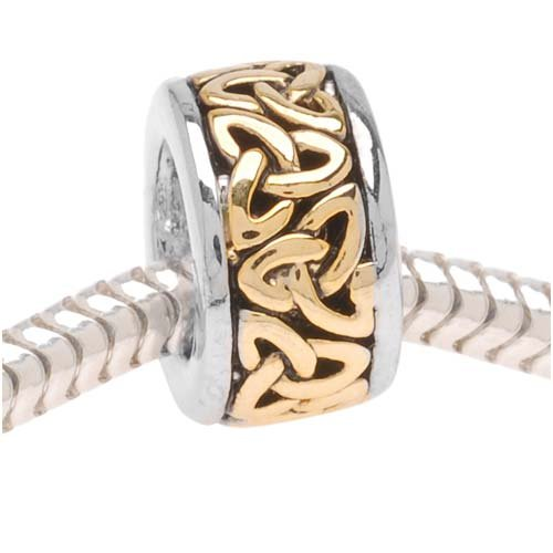 Beadaholique B1643 Trinity Celtic Knot on Silver Tone Bead, Fits Pandora, 22K Gold Plated
