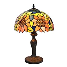 Tiffany Style Lamps Sunflower Table Desk Light 18 Inches Tall Stained Glass 12 Inches Wide Lamp Shade Vintage Antique Accent Lamp for Living Bedside Coffee Room College Dorm