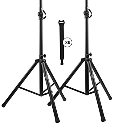 Starument Pair of Pa Speaker Stands and Touch Fastener Kit Secure Cables to the Stands 6 ft. Tripod Speaker Stand