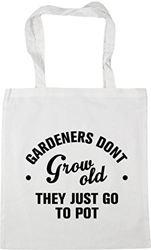 HippoWarehouse Gardeners don't grow old they just go to pot Tote Shopping Gym Beach Bag 42cm x38cm, 10 litres White