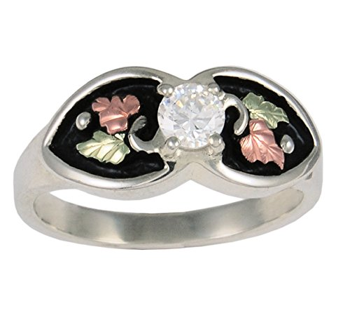 - CZ Antiqued Ring, Sterling Silver, 12k Green and Rose Gold Black Hills Gold Motif, Size 8