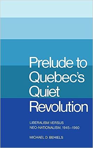 Liberalism versus Neo-Nationalism 1945-1960 Prelude to Quebecs Quiet Revolution