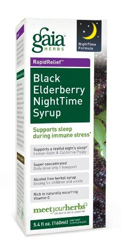 Gaia Herbs sirop sureau noir nuit, 5.4-Ounce Bottle