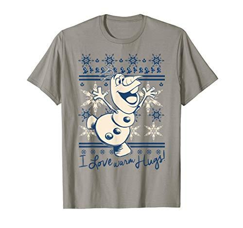 Disney Frozen Olaf I Love Warm Hugs Pattern Graphic T-Shirt