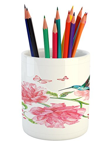 (Lunarable Hummingbird Pencil Pen Holder, Vintage Watercolor Illustration with Butterflies Birds and Flourishing Branch, Printed Ceramic Pencil Pen Holder for Desk Office Accessory, Multicolor)