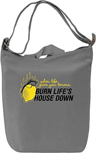 Burn Life's House Down Borsa Giornaliera Canvas Canvas Day Bag| 100% Premium Cotton Canvas| DTG Printing|