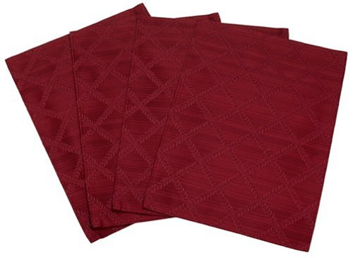 "Lenox Laurel Leaf Set of 4 Placemats, Cranberry - Textured Solid Woven Damask Machine washable in cold water with like color Set includes four 13""x19"" placemats - placemats, kitchen-dining-room-table-linens, kitchen-dining-room - 41MW7PS3JKL -"