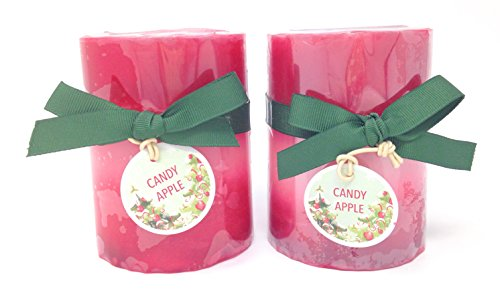 Pier 1 Candy Apple 4 inch Pillar Set of 2 (Pier 1 Imports)