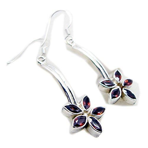 Natural Garnet Earrings For Women 925 Sterling Silver Fashion Jewelry Long Hook Marquise Shape Flower