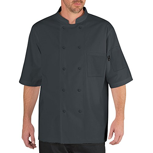 Chef Code Cool Breeze Chef Coat With Short-Sleeves and Mesh Vent Inlay CC105 (XL, Charcoal)