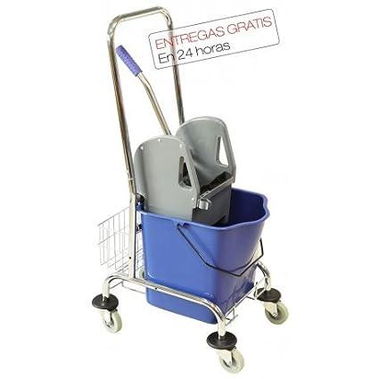 Pack profesional de limpieza de suelos. Cubo de fregado 25L con ruedas y prensa y una fregona industrial. Para colectividades, restaurantes, hoteles y ...