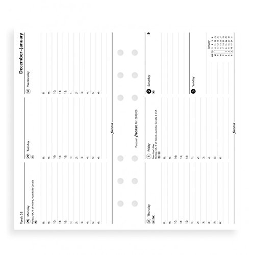 filoFax 68420-2018 Refill for Year 2018 Personal Week On Two Pages Horizontal Diary With Appointments
