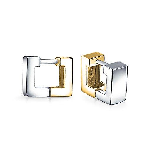 Geometric Two Tone Square Huggie Hoop Kpop Earrings For Women Men Polished 14K Gold Plated 925 Sterling Silver