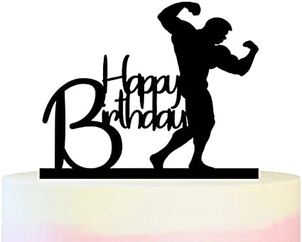 Amazon Com Tc0079 Happy Birthday Bodybuilding Party Wedding Birthday Acrylic Cake Topper Cupcake Toppers Decor Set 11 Pcs Toys Games