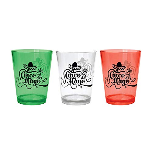 Plastic Shot Glasses For Cinco De Mayo  Food Grade Polystyrene  With Cinco De Mayo Design  Mexican Flag Colours Green Transparent and Red  24 Pack  Celebrate Mexican Culture amp Tradition