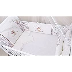 Bear Themed Terracotta Baby Girl 10 Pcs Nursery Crib Bedding Set Embroidered