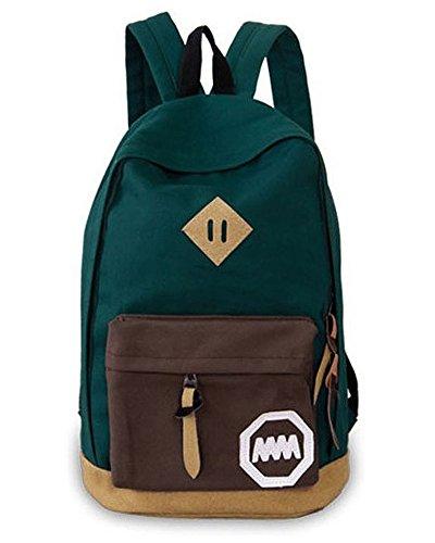 Minetom Lona Backpack Mochilas Escolares Mochila Escolar Casual Bolsa Viaje Moda Mm Logo Mujer Verde