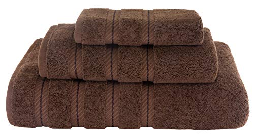 (American Soft Linen Premium, Luxury Hotel & Spa Quality, Kitchen & Bathroom Turkish Towel Set, Cotton for Maximum Softness & Absorbency, (3-Piece Towel Set - Chocolate Brown) )