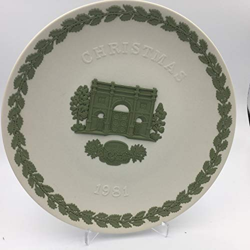 Rare WEDGWOOD Jasperware 1981 Christmas Plate Reversed colors Green on White Ltd. Edition of 750 ()