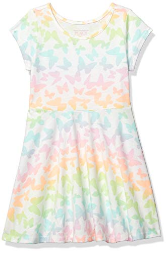 Knit Together Dress - The Children's Place Baby Girls Cap Sleeve Printed Novelty Knit Dresses, Simplywht 2T