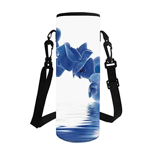 Blue Stylish Bottle Sleeve,Orchid Corsage Composition with Reflection in Water Zen Decor Bridal Garden for Bottle & Vacuum Cup,3.7''L x 3.7''W x 10.2''H
