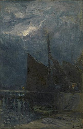 [Perfect Effect Canvas ,the High Quality Art Decorative Prints On Canvas Of Oil Painting 'Guillaume Vogels - Entrance Of A Harbour By Night,19th Century', 18x28 Inch / 46x71 Cm Is Best For Gift For Relatives And Home Gallery Art And] (Deluxe Night Shades Goth Makeup)