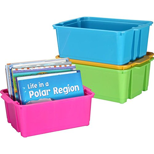 Really Good Stuff Stackable Plastic Book and Organizer Bins for Classroom or Home Use – Sturdy Plastic Baskets in Fun Neon Colors (Set of 4)