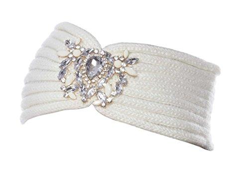 Crystal Blossom Angora Winter Headband, Ivory Jewel