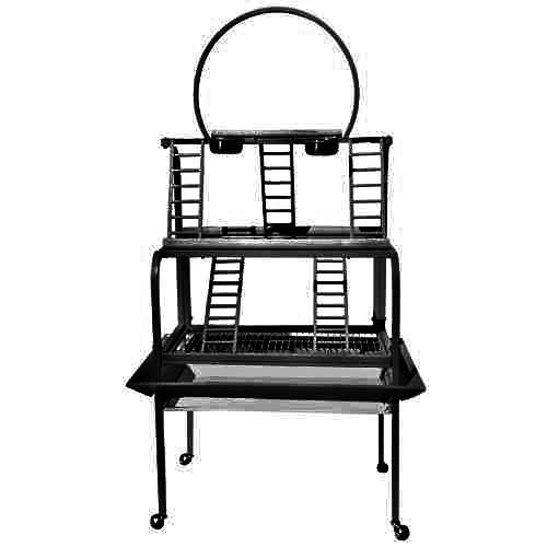 PARROT BIRD PLAY PEN GYM STAND PP 503 34W21D74H toy cage cages toys macaw african grey (BLACK/SILVER)