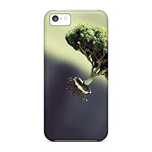 New Style Mycase88 Hard Cases Covers For Iphone 5c- Green Tree In The Fly Offering Shade Everywhere