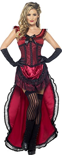 [Smiffy's Women's Western Authentic Brothel Babe Costume, Dress and Corset, Western, Serious Fun, Size 10-12,] (Womens Western Costumes)