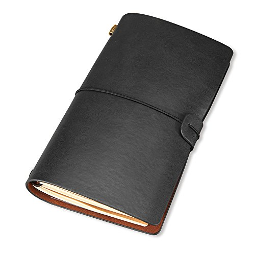 Refillable Vintage Leather Notebook, Handmade Travel Journal Writing Diary, Gift for Men&Women (Black) by Pocopet