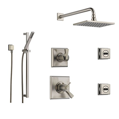 Delta Dryden Stainless Steel Shower System with Thermostatic Shower Handle, 6-setting Diverter, Modern Square Rain Showerhead, Hand Held Shower, and 2 Body Sprays SS17T5194SS Delta Faucets