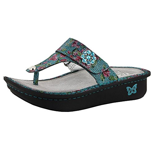 a Wedge Thong Sandal Aqua Flora Size 41 EU (10.5 M US Women) (Aqua Wedges)