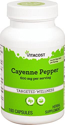 Vitacost Cayenne Pepper – 600 mg per Serving – 180 Capsules