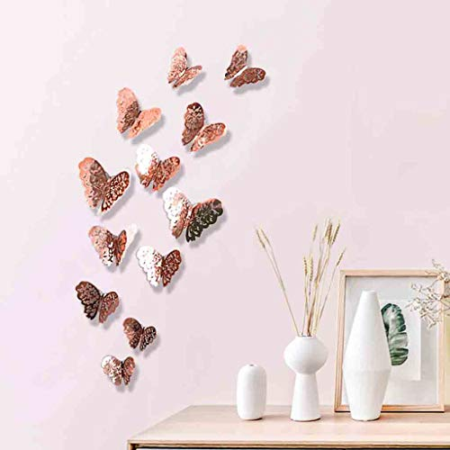 Uplord 12Pcs Rose Gold Butterfly Decorations,3D Wall Decals,Metallic Art Sticker,DIY/Man-Made/Decorative Paper Murals for Home,Living Room,Kids/Girls Bedroom,Nursery,Party Decor (A)